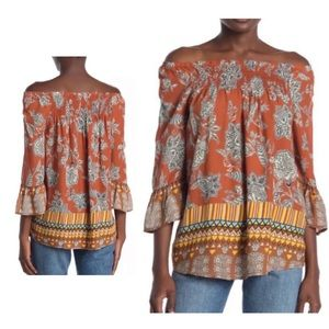NWT Boho Chic Geo Print Off-Shoulder Blouse Size S